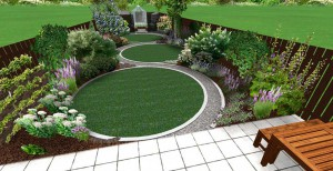 3d mock up of large garden features 3 large circular lawns leading to a greenhouse surround by attractive flower beds