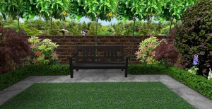 3d mock up of garden wall and bench at end of modern garden
