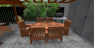 3d mock up of covered outside seating area on granite flooring and high brown fence