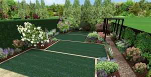 3D mock up of garden split into separate lawns surrounded by shrubbery an