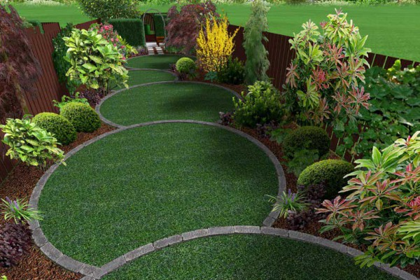 3d mock up of overlapping circular lawns surrounded by plants and bushes - Garden Design Circular Lawns