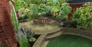 3d mock up of large circular paved seating areas at the side of house surrounded by greenery and trees