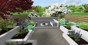 3d mock up of modern layered raised flower beds leading to seating and BBQ area
