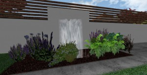 3d mock up of water feature on large white fenced wall pouring water behind planted area