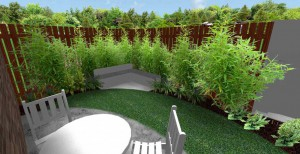 3d mock up of small fenced garden lined with small plants surrounded white table and chairs