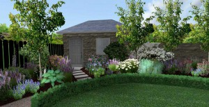 3d mock up of circular garden with large outhouse surrounded by trees, plants and flowers