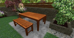 3d mock up of outside seating area in front of large stone wall and planted trees