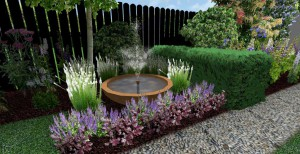3d mock up of large bowl water feature sounded by plants and bush with pebble pathway running in front