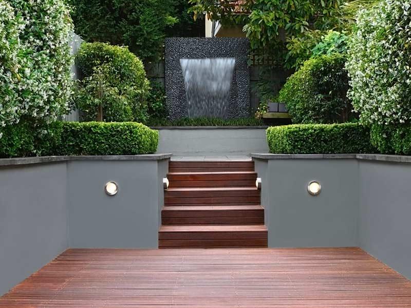 Modern decking in garden