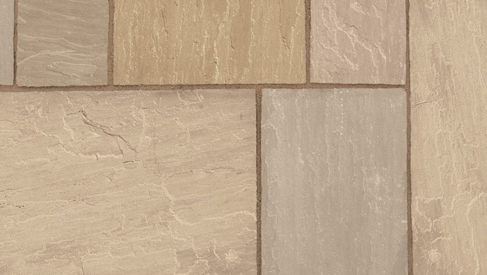 Ariel view of Autumn Brown Sandstone paving in different shades