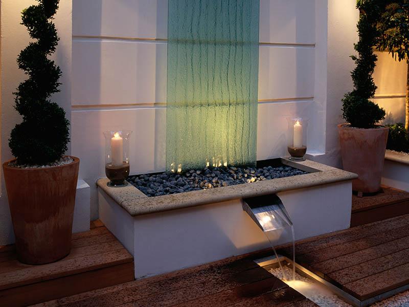 Jm Garden Design Lighting water feature