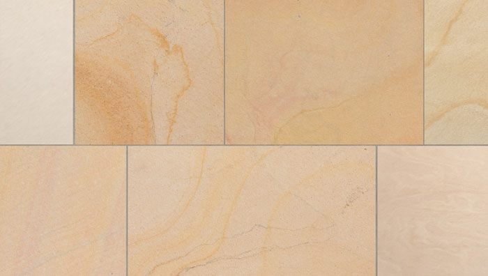 Yellow Sandstone texture in seven tile sections