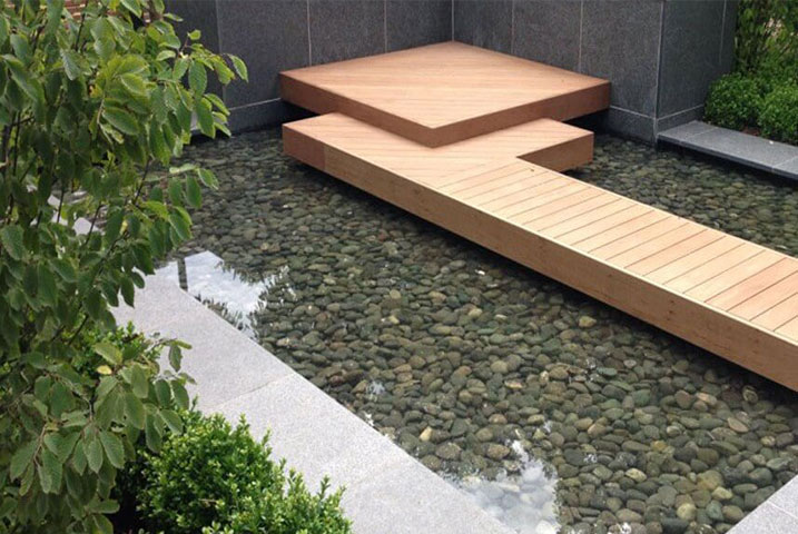 contemporary pool garden